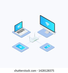 Wireless Network Connection Isometric Icon Design