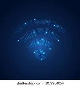 wireless network symbol combined with electronic board pattern, conceptual design of abstract wifi emblem