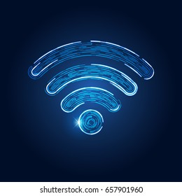 wireless network symbol in futuristic theme, conceptual design of abstract wifi emblem