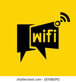 wireless network symbol, wifi symbol on yellow background