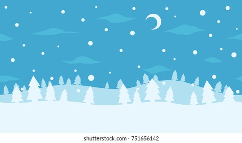 Wireless pattern of winter forest. North landscape. Winter night background. Seamless 	 scenery. Holiday trees.