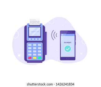 Wireless payment concept banner. Payment terminal with mobile phone. NFC payment technology. Flat style illustration.