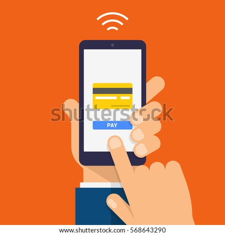 Wireless Payment Icon. Payment page and credit card on smartphone screen. Modern Flat design illustration.