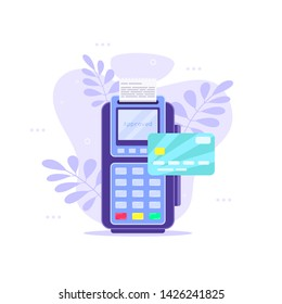 Wireless payment terminal with credit card on floral background. Flat style illustration.
