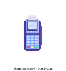Wireless payment terminal isolated on white background. Flat style illustration.