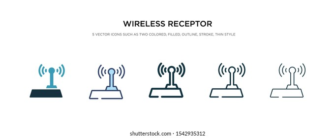 wireless receptor icon in different style vector illustration. two colored and black wireless receptor vector icons designed in filled, outline, line and stroke style can be used for web, mobile, ui