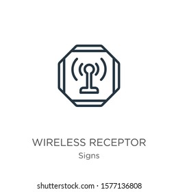 Wireless receptor icon. Thin linear wireless receptor outline icon isolated on white background from signs collection. Line vector sign, symbol for web and mobile