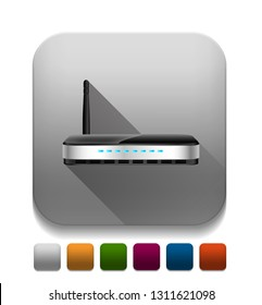 wireless router With long shadow over app button