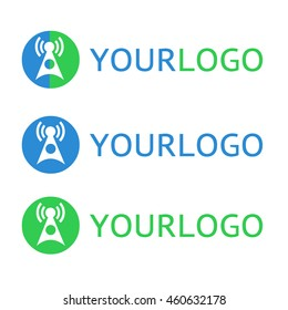 wireless satellite icon. GPS and GPRS technology vector logo isolated