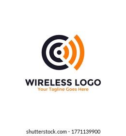 Wireless Signal logo template design. Wifi logo, radio waves icon vector.