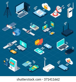 Wireless technologies isometric icons set with mobile communication devices 3d vector illustration