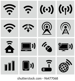 Wireless technology, black web icons set.