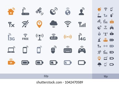 Wireless Technology - Carbon Icons. A set of professional pixel-aligned icons.