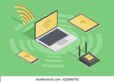 Wireless technology devices in isometric style poster with laptop smartphone router and wifi internet hub connection symbol flat vector illustration