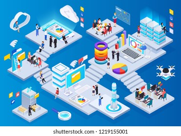 Wireless technology glow isometric composition with cloud big data storage communication teleconference presentation drone delivery vector illustration