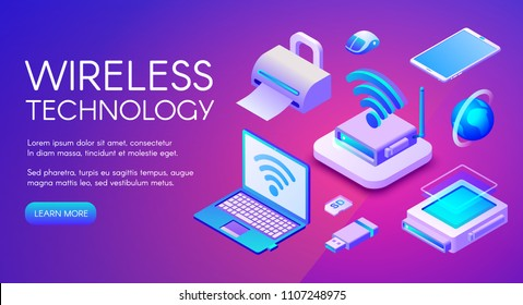 Wireless technology isometric vector illustration of Wi-Fi, Bluetooth or NFC connection and digital data storage devices. Internet cloud, USB flash, laptop and smartphone on ultra violet background