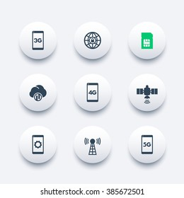 wireless technology modern round icons, 4g network pictogram, mobile communication, connection signs, 4g, 5g mobile internet icon,