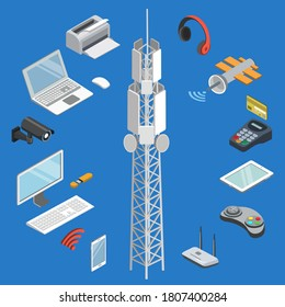 Wireless technology. Telecommunication and wireless infographic connection technology. Vector isometric modern digital gadget conductor point, communication satellite and cell tower illustration