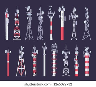 Wireless tower. Tv radio network communication satellite antena signal vector pictures
