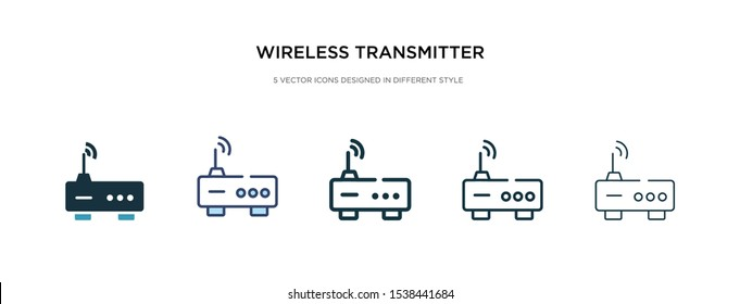 wireless transmitter icon in different style vector illustration. two colored and black wireless transmitter vector icons designed in filled, outline, line and stroke style can be used for web,