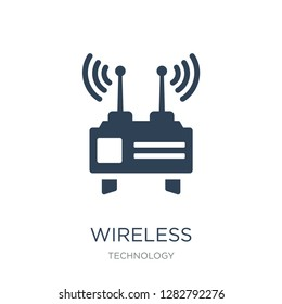 wireless transmitter icon vector on white background, wireless transmitter trendy filled icons from Technology collection, wireless transmitter vector illustration