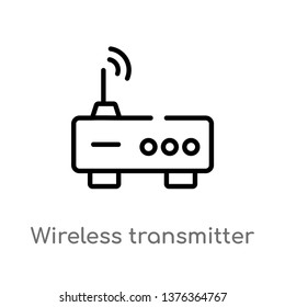 wireless transmitter vector line icon. Simple element illustration. wireless transmitter outline icon from technology concept. Can be used for web and mobile
