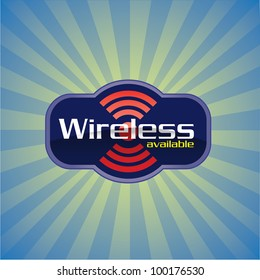 Wireless or WiFi available glossy vector icon