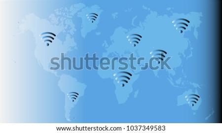 Wireless Wifi Icon Sign Remote Internet Stock Vector