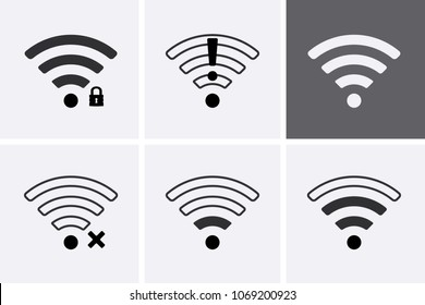 Wireless and Wifi icons. 2G, 3G, 4G and 5G technology symbols. Vector set