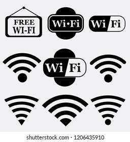 Wireless and wifi icons set or signs.wifi icon vector illustration