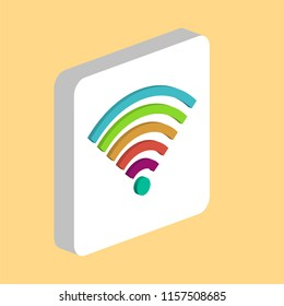 Wireless, WIFI Simple vector icon. Illustration symbol design template for web mobile UI element. Perfect color isometric pictogram on 3d white square. Wireless, WIFI icons for your business project