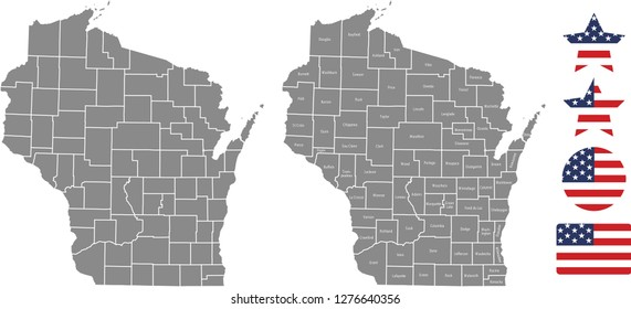 Wisconsin county map vector outline in gray background. Wisconsin state of USA map with counties names labeled and United States flag icon vector illustration designs