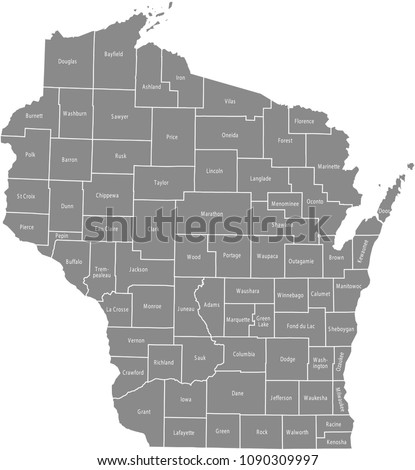Wisconsin County Map Vector Outline Gray Stock Vector Royalty Free