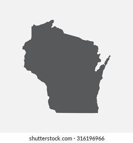 Wisconsin grey state border map.