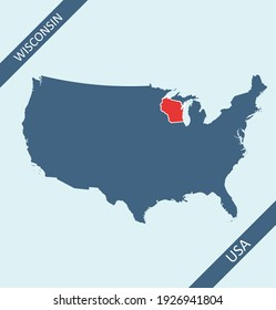 Wisconsin highlighted on USA map
