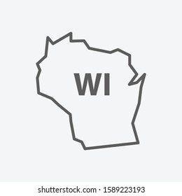 Wisconsin icon line symbol. Isolated vector illustration of icon sign concept for your web site mobile app logo UI design.