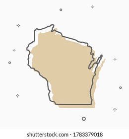 Wisconsin map icon Memphis style state map thin line style.  infographic icon map with small thin line geometric figures.  Vector illustration linear modern concept