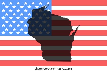 wisconsin map on a vintage american flag background