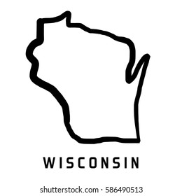 Wisconsin map outline - smooth simplified US state shape map vector.