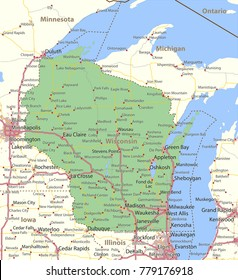 Wisconsin map. Shows state borders, urban areas, place names, roads and highways.Projection: Mercator.