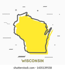 Wisconsin map in thin line style. Wisconsin infographic map icon with small thin line geometric figures. Wisconsin state. Vector illustration linear modern concept