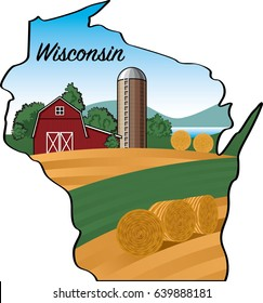 Wisconsin Map Vector Shape with Farm Landscape