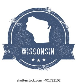 Wisconsin Mark Travel Rubber Stamp With The Name And Map Of Vector Illustration