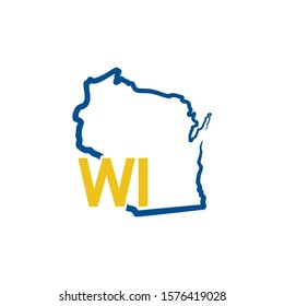 Wisconsin Outline Logo Template 002