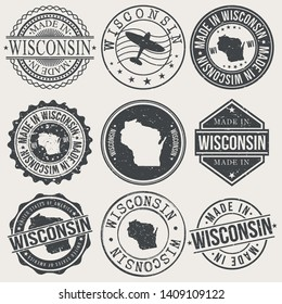 Wisconsin Set of Stamps. Travel Stamp. Made In Product. Design Seals Old Style Insignia.