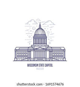Wisconsin State Capitol located in Madison, Wisconsin. The state capitol of the U.S. state of Vermont. Government building in Beaux-Arts architectural style.  State sight vector icon in linear style