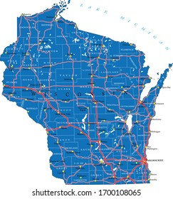 Wisconsin state detailed political map