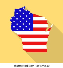 Wisconsin state map in style of USA national flag. Flat style with long shadow