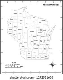 wisconsin state outline administrative and political vector map in black and white