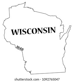 A Wisconsin state outline with the date of statehood isolated on a white background